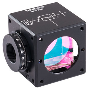 VA5-1550 - 30 mm Cage Cube-Mounted Variable Beamsplitter for 1550 nm, 8-32 Tap