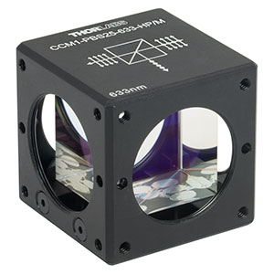 CCM1-PBS25-633-HP/M - 30 mm Cage-Cube-Mounted, High-Power, Polarizing Beamsplitter Cube, 633 nm, M4 Tap