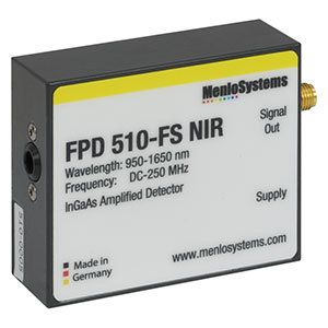 FPD510-FS-NIR - InGaAs Fixed Gain, High-Sensitivity PIN Amplified Detector, 950 - 1650 nm, DC - 250 MHz, 0.07 mm<sup>2</sup>, M4 Mounting Hole