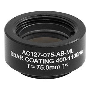 AC127-075-AB-ML - f = 75.0 mm, Ø1/2in Achromatic Doublet, SM05-Threaded Mount, ARC: 400 - 1100 nm