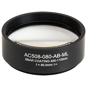 AC508-080-AB-ML - f = 80.0 mm, Ø2in Achromatic Doublet, SM2-Threaded Mount, ARC: 400 - 1100 nm