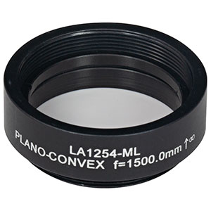 LA1254-ML - Ø1in N-BK7 Plano-Convex Lens, SM1-Threaded Mount, f = 1500.0 mm, Uncoated