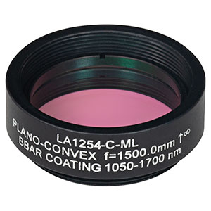 LA1254-C-ML - Ø1in N-BK7 Plano-Convex Lens, SM1-Threaded Mount, f = 1500 mm, ARC: 1050-1700 nm