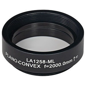 LA1258-ML - Ø1in N-BK7 Plano-Convex Lens, SM1-Threaded Mount, f = 2000.0 mm, Uncoated