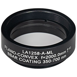 LA1258-A-ML - Ø1in N-BK7 Plano-Convex Lens, SM1-Threaded Mount, f = 2000.0 mm, ARC: 350-700 nm