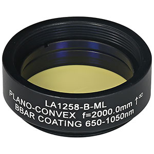 LA1258-B-ML - Ø1in N-BK7 Plano-Convex Lens, SM1-Threaded Mount, f = 2000.0 mm, ARC: 650-1050 nm