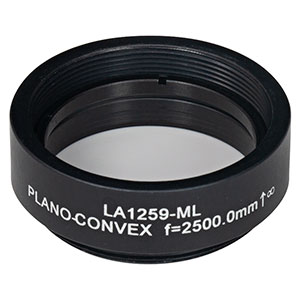 LA1259-ML - Ø1in N-BK7 Plano-Convex Lens, SM1-Threaded Mount, f = 2500.0 mm, Uncoated