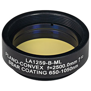 LA1259-B-ML - Ø1in N-BK7 Plano-Convex Lens, SM1-Threaded Mount, f = 2500 mm, ARC: 650-1050 nm