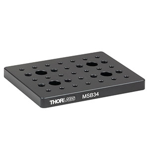 MSB34 - 3in x 4in x 3/8in Mini-Series Aluminum Breadboard, 8-32 and 1/4in-20 High-Density Taps