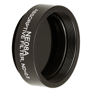 NE08A - Ø25 mm Absorptive ND Filter, SM1-Threaded Mount, Optical Density: 0.8