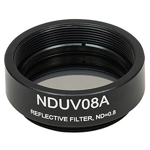 NDUV08A - SM1-Threaded Mount, Ø25 mm UVFS Reflective ND Filter, OD: 0.8