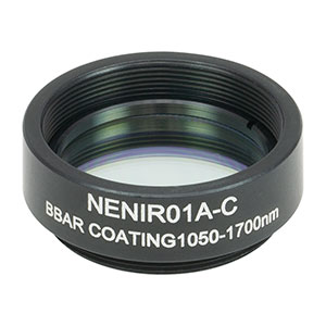 NENIR01A-C - Ø25 mm AR-Coated Absorptive Neutral Density Filter, SM1-Threaded Mount, 1050 - 1700 nm, OD: 0.1