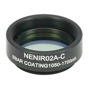 NENIR02A-C - Ø25 mm AR-Coated Absorptive Neutral Density Filter, SM1-Threaded Mount, 1050 - 1700 nm, OD: 0.2
