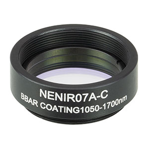 NENIR07A-C - Ø25 mm AR-Coated Absorptive Neutral Density Filter, SM1-Threaded Mount, 1050 - 1700 nm, OD: 0.7