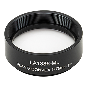 LA1386-ML - Ø1.5in N-BK7 Plano-Convex Lens, SM1.5-Threaded Mount, f = 75 mm, Uncoated