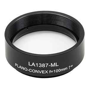 LA1387-ML - Ø1.5in N-BK7 Plano-Convex Lens, SM1.5-Threaded Mount, f = 100 mm, Uncoated