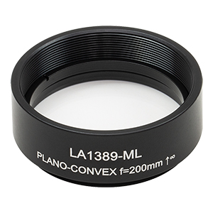 LA1389-ML - Ø1.5in N-BK7 Plano-Convex Lens, SM1.5-Threaded Mount, f = 200 mm, Uncoated