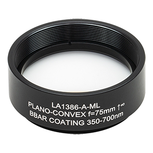 LA1386-A-ML - Ø1.5in N-BK7 Plano-Convex Lens, SM1.5-Threaded Mount, f = 75 mm, ARC: 350-700 nm