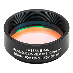 LA1388-B-ML - Ø1.5in N-BK7 Plano-Convex Lens, SM1.5-Threaded Mount, f = 150 mm, ARC: 650-1050 nm