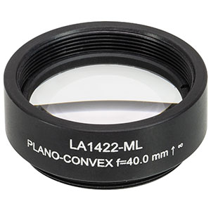 LA1422-ML - Ø1in N-BK7 Plano-Convex Lens, SM1-Threaded Mount, f = 40 mm, Uncoated