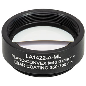 LA1422-A-ML - Ø1in N-BK7 Plano-Convex Lens, SM1-Threaded Mount, f = 40 mm, ARC: 350-700 nm