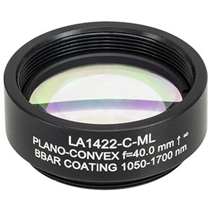 LA1422-C-ML - Ø1in N-BK7 Plano-Convex Lens, SM1-Threaded Mount, f = 40 mm, ARC: 1050-1700 nm