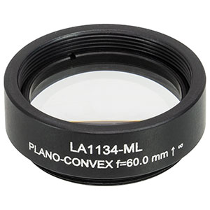 LA1134-ML - Ø1in N-BK7 Plano-Convex Lens, SM1-Threaded Mount, f = 60 mm, Uncoated