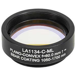 LA1134-C-ML - Ø1in N-BK7 Plano-Convex Lens, SM1-Threaded Mount, f = 60 mm, ARC: 1050-1700 nm