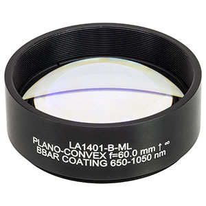 LA1401-B-ML - Ø2in N-BK7 Plano-Convex Lens, SM2-Threaded Mount, f = 60 mm, ARC: 650-1050 nm