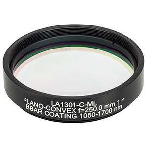 LA1301-C-ML - Ø2in N-BK7 Plano-Convex Lens, SM2-Threaded Mount, f = 250 mm, ARC: 1050-1700 nm