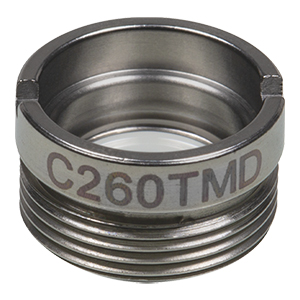C260TMD - f= 15.3 mm, NA = 0.2, WD = 12.4 mm, Mounted Aspheric Lens, Uncoated