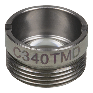 C340TMD - f= 4.0 mm, NA = 0.6, WD = 1.2 mm, Mounted Aspheric Lens, Uncoated