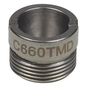 C660TMD - f = 3.0 mm, NA = 0.5, WD = 1.3 mm, Mounted Aspheric Lens, Uncoated