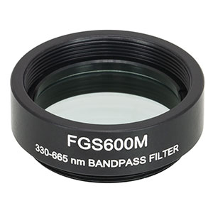 FGS600M - Ø25 mm KG5 Colored Glass Bandpass Filter, SM1-Threaded Mount, 330 - 665 nm