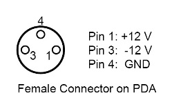 Pinout for PDA Power Connector