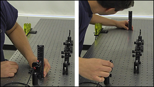 Leveling a laser beam with respect to an optical table.