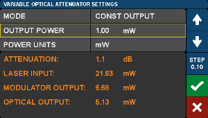 E-O Converter Variable Optical Attenuator Settings Screen