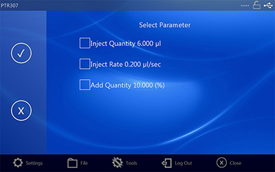 Injection Parameter Screen