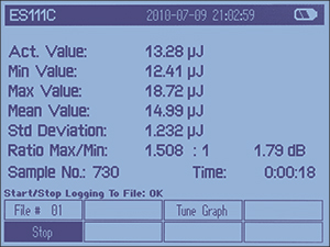 PM100D Pulsed Statistics Display